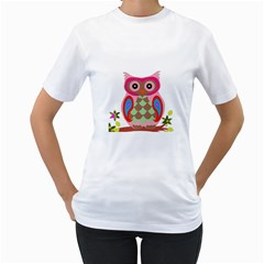 Owl Colorful Patchwork Art Women s T Shirt (white)