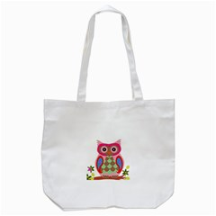 Owl Colorful Patchwork Art Tote Bag (white) by Nexatart