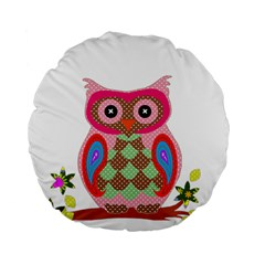 Owl Colorful Patchwork Art Standard 15  Premium Flano Round Cushions by Nexatart