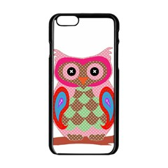 Owl Colorful Patchwork Art Apple Iphone 6/6s Black Enamel Case by Nexatart