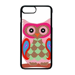 Owl Colorful Patchwork Art Apple Iphone 7 Plus Seamless Case (black) by Nexatart