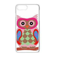 Owl Colorful Patchwork Art Apple Iphone 7 Plus White Seamless Case by Nexatart