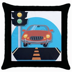 Semaphore Car Road City Traffic Throw Pillow Case (black)