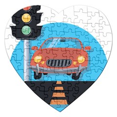 Semaphore Car Road City Traffic Jigsaw Puzzle (heart)