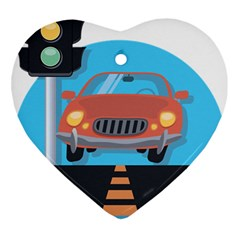 Semaphore Car Road City Traffic Heart Ornament (two Sides) by Nexatart