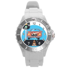 Semaphore Car Road City Traffic Round Plastic Sport Watch (l) by Nexatart