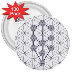 Tree Of Life Flower Of Life Stage 3  Buttons (100 Pack)  by Nexatart