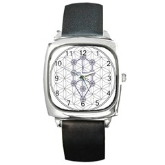 Tree Of Life Flower Of Life Stage Square Metal Watch by Nexatart
