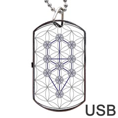 Tree Of Life Flower Of Life Stage Dog Tag Usb Flash (one Side) by Nexatart