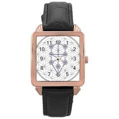 Tree Of Life Flower Of Life Stage Rose Gold Leather Watch  by Nexatart