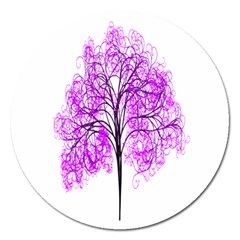 Purple Tree Magnet 5  (round)