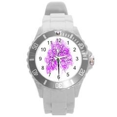 Purple Tree Round Plastic Sport Watch (l)
