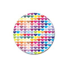 Heart Love Color Colorful Magnet 3  (round) by Nexatart