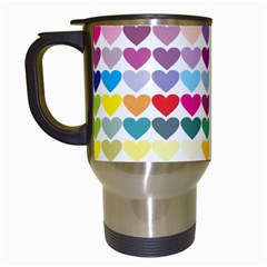 Heart Love Color Colorful Travel Mugs (white) by Nexatart