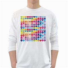Heart Love Color Colorful White Long Sleeve T Shirts by Nexatart