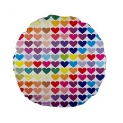 Heart Love Color Colorful Standard 15  Premium Round Cushions by Nexatart
