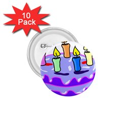 Cake Happy Birthday 1 75  Buttons (10 Pack) by Nexatart