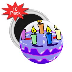 Cake Happy Birthday 2 25  Magnets (10 Pack)