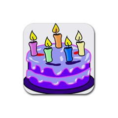 Cake Happy Birthday Rubber Square Coaster (4 Pack)