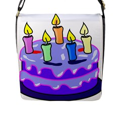 Cake Happy Birthday Flap Messenger Bag (l)  by Nexatart