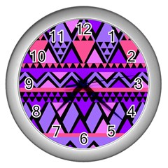 Seamless Purple Pink Pattern Wall Clocks (silver)