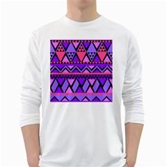 Seamless Purple Pink Pattern White Long Sleeve T Shirts