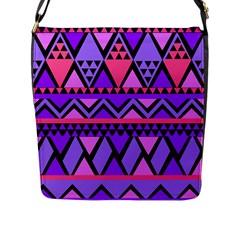 Seamless Purple Pink Pattern Flap Messenger Bag (l)
