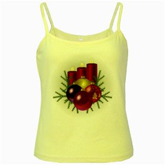 Candles Christmas Tree Decorations Yellow Spaghetti Tank