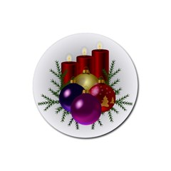 Candles Christmas Tree Decorations Rubber Round Coaster (4 Pack)