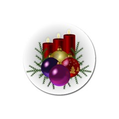 Candles Christmas Tree Decorations Magnet 3  (round) by Nexatart