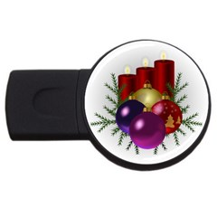 Candles Christmas Tree Decorations Usb Flash Drive Round (2 Gb) by Nexatart