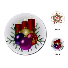 Candles Christmas Tree Decorations Playing Cards (Round)  by Nexatart