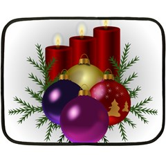 Candles Christmas Tree Decorations Double Sided Fleece Blanket (mini)  by Nexatart