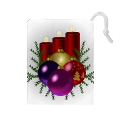 Candles Christmas Tree Decorations Drawstring Pouches (large)