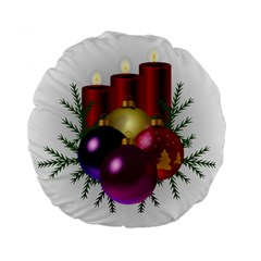 Candles Christmas Tree Decorations Standard 15  Premium Flano Round Cushions