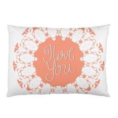 Mandala I Love You Pillow Case by Nexatart