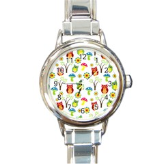 Cute Owl Wallpaper Pattern Round Italian Charm Watch