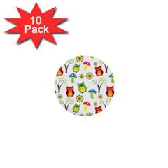 Cute Owl Wallpaper Pattern 1  Mini Buttons (10 Pack)  by Nexatart