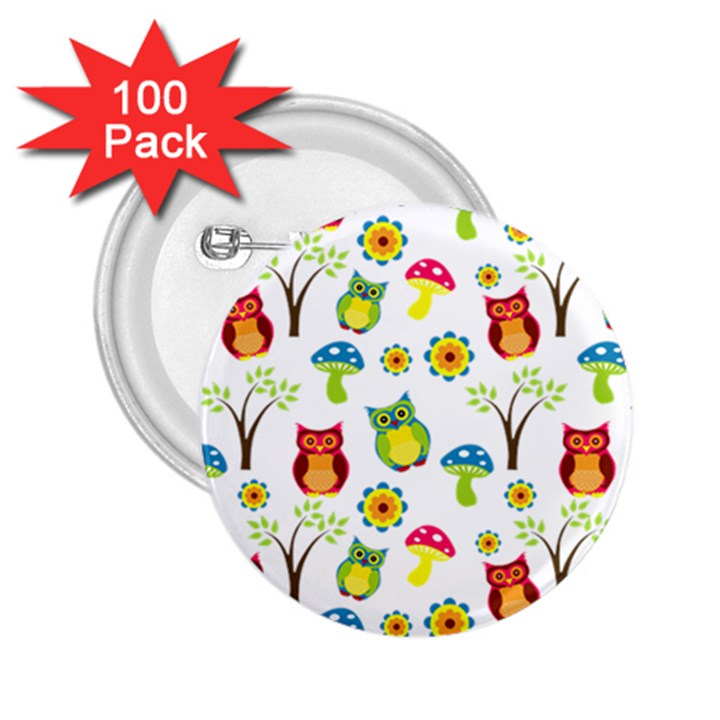 Cute Owl Wallpaper Pattern 2.25  Buttons (100 pack)