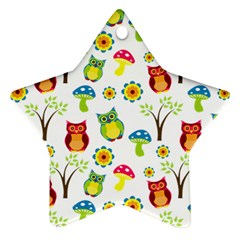 Cute Owl Wallpaper Pattern Star Ornament (two Sides) by Nexatart