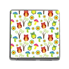 Cute Owl Wallpaper Pattern Memory Card Reader (square)