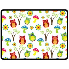 Cute Owl Wallpaper Pattern Fleece Blanket (large)  by Nexatart