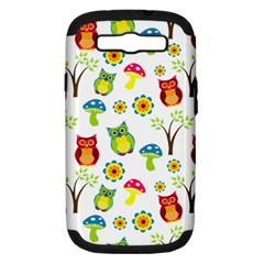 Cute Owl Wallpaper Pattern Samsung Galaxy S Iii Hardshell Case (pc+silicone)