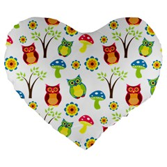 Cute Owl Wallpaper Pattern Large 19  Premium Heart Shape Cushions