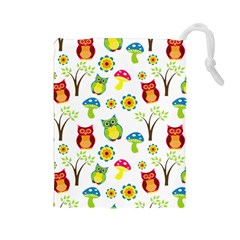 Cute Owl Wallpaper Pattern Drawstring Pouches (large)
