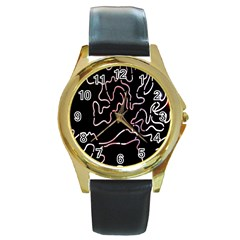 Abstract Glare Visual Art Round Gold Metal Watch