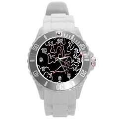 Abstract Glare Visual Art Round Plastic Sport Watch (l)