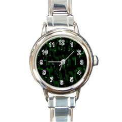 Abstract Art Background Green Round Italian Charm Watch
