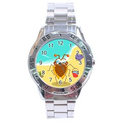 Animal Nature Cartoon Bug Insect Stainless Steel Analogue Watch by Nexatart