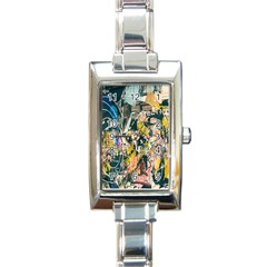 Art Graffiti Abstract Lines Rectangle Italian Charm Watch by Nexatart